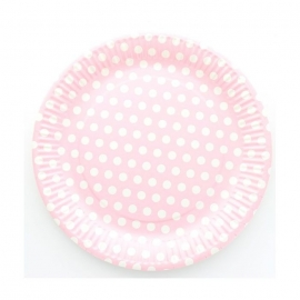 ASSIETTES POIS ROSE X10
