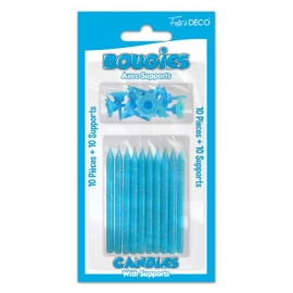 BOUGIES X10 + 10 SUPPORTS TURQUOISE