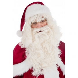 PERRUQUE + BARBE PERE NOEL LUXE BLANC