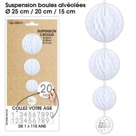 SUSPENSION BOULES BLANCHES