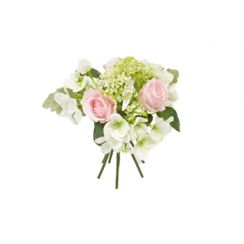 BOUQUET ROSES HORTENSIAS FEUILLAGES ROSE