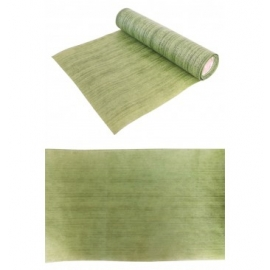 CHEMIN DE TABLE STRIES VERT EFFEST FEUILLE TROPICALE