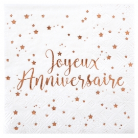 SERVIETTES ANNIVERSAIRE X20 ROSE GOLD