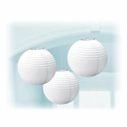 LAMPIONS BOULES 24CM X3 BLANC