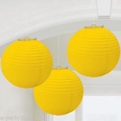 LAMPIONS BOULES 24CM X3 JAUNE