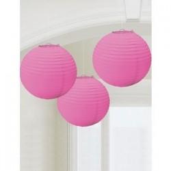 LAMPIONS BOULES 24CM X3 ROSE