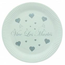 ASSIETTES VIVE LES MARIES X10
