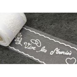 Rouleau de Tulle VIVE LES MARIES BLANC