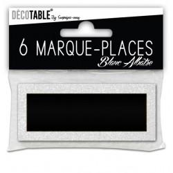 LOT DE 6 MARQUE PLACES PAILLETTES BLANC