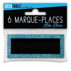 LOT DE 6 MARQUE PLACES PAILLETTES BLEU