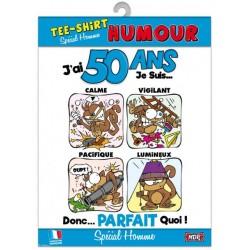 T-SHIRT HUMORISTIQUE 50 ANS BLEU